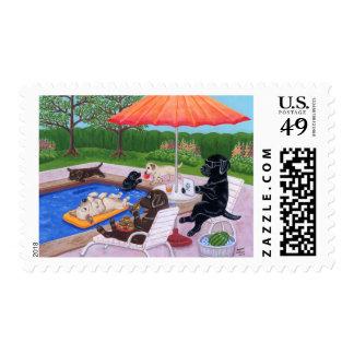 Pintura de Labradors 2 de la fiesta en la piscina
