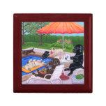 Pintura de Labradors 2 de la fiesta en la piscina Caja De Regalo