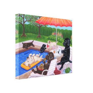Pintura de Labradors 2 de la fiesta en la piscina Impresión En Lienzo