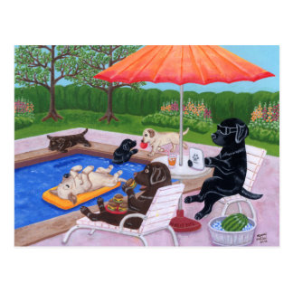 Pintura de Labradors 2 de la fiesta en la piscina Postal