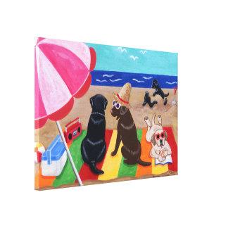 Pintura de Labradors de la brisa del verano Impresión En Lienzo