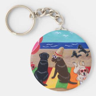 Pintura de Labradors de la brisa del verano Llavero Redondo Tipo Pin