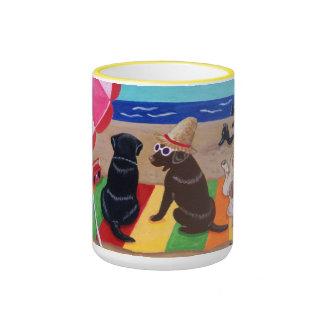 Pintura de Labradors de la brisa del verano Taza De Café