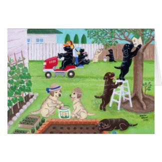 Pintura de Labradors de la diversión de domingo Felicitaciones