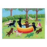 Pintura de Labradors de la diversión del verano
