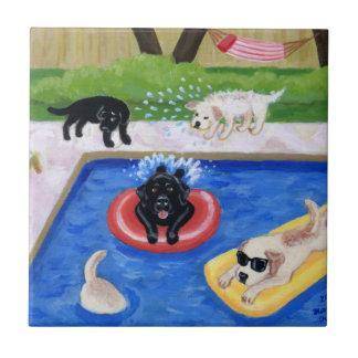 Pintura de Labradors de la fiesta en la piscina Azulejo Cuadrado Pequeño