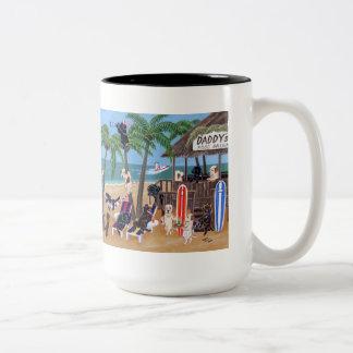Pintura de Labradors de las vacaciones de verano d Tazas De Café