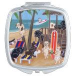 Pintura de Labradors de las vacaciones de verano Espejo Compacto