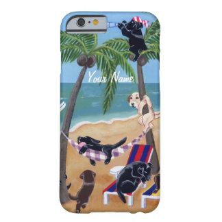 Pintura de Labradors de las vacaciones de verano Funda De iPhone 6 Barely There
