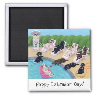 Pintura de Labradors del fiesta del Poolside Imán Cuadrado