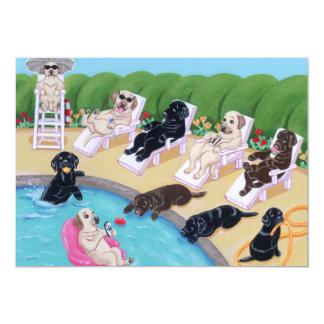 """Pintura de Labradors del fiesta del Poolside Invitación 5"""" X 7"""""""