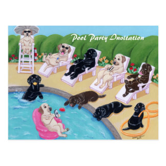 Pintura de Labradors del fiesta del Poolside Postal