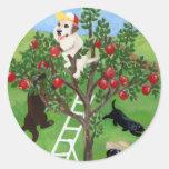 Pintura de Labradors del manzano Pegatina