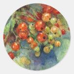 Pintura de las bayas de las pasas de la acuarela pegatinas redondas