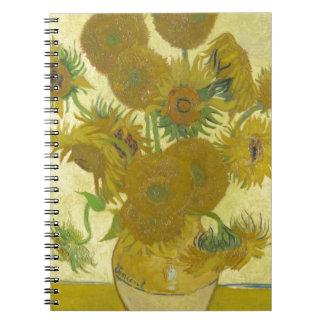 Pintura de las flores de los girasoles 1888 de Vin Libreta Espiral