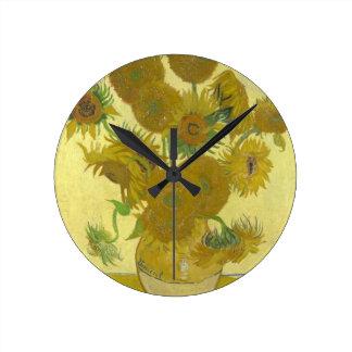 Pintura de las flores de los girasoles 1888 de Vin Reloj De Pared