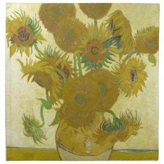 Pintura de las flores de los girasoles 1888 de Vin Servilletas Imprimidas