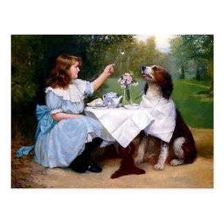 Pintura de las maneras de tabla del perro casero postal