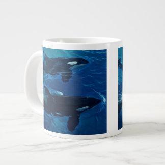 Pintura de las orcas taza de café grande