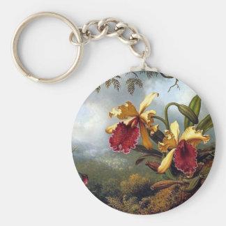 Pintura de las orquídeas del colibrí llavero personalizado