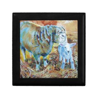 Pintura de las ovejas y del cordero cajas de recuerdo