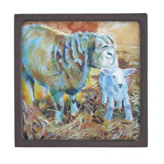 Pintura de las ovejas y del cordero caja de regalo de calidad