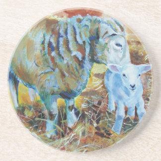 Pintura de las ovejas y del cordero posavasos diseño