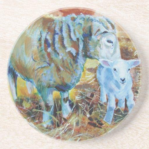 Pintura de las ovejas y del cordero posavasos de arenisca