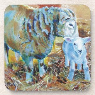 Pintura de las ovejas y del cordero posavasos