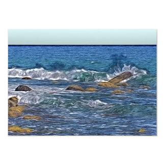 """Pintura de las rocas del océano invitación 5"""" x 7"""""""