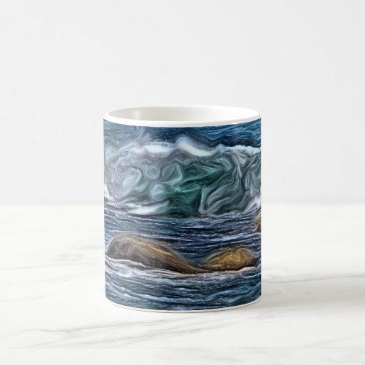 Pintura de las rocas del océano taza de café