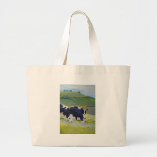 Pintura de las vacas blancos y negros del Holstein Bolsas De Mano