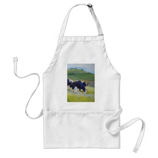Pintura de las vacas blancos y negros del Holstein Delantal
