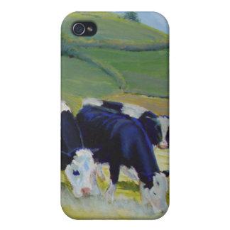Pintura de las vacas blancos y negros del Holstein iPhone 4 Cárcasas