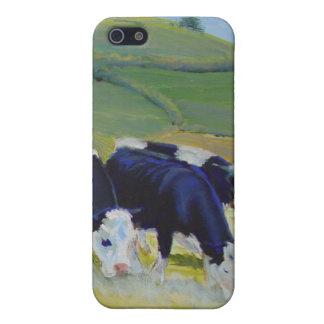 Pintura de las vacas blancos y negros del Holstein iPhone 5 Carcasas