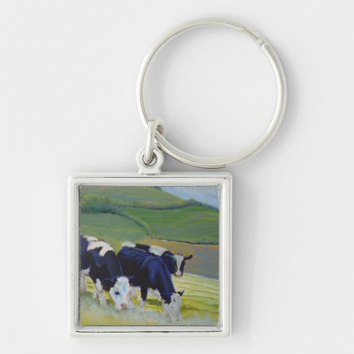 Pintura de las vacas blancos y negros del Holstein Llavero Personalizado