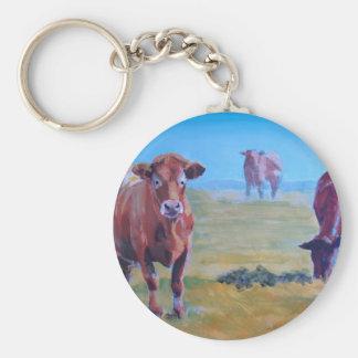 Pintura de las vacas llavero redondo tipo pin