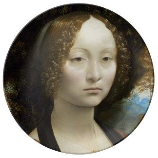 Pintura de Leonardo da Vinci Ginevra de' Benci Plato De Cerámica