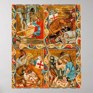 Pintura de libro el medioevo de caracterizaciones póster