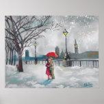 Pintura de Londres Thames Big Ben de la nieve de l Impresiones