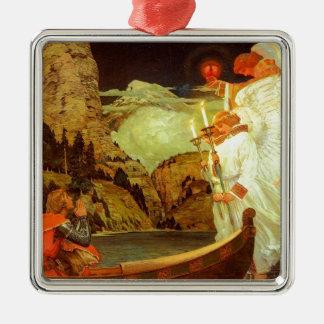 Pintura de los ángeles del santo grial del adorno navideño cuadrado de metal