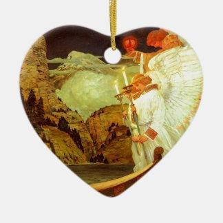 Pintura de los ángeles del santo grial del adorno navideño de cerámica en forma de corazón