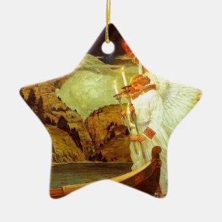 Pintura de los ángeles del santo grial del adorno navideño de cerámica en forma de estrella