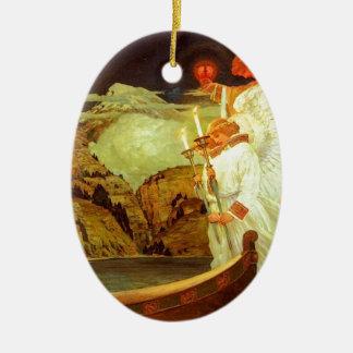 Pintura de los ángeles del santo grial del adorno navideño ovalado de cerámica