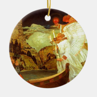 Pintura de los ángeles del santo grial del adorno navideño redondo de cerámica