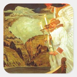 Pintura de los ángeles del santo grial del pegatina cuadrada