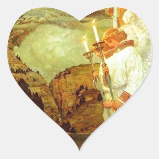 Pintura de los ángeles del santo grial del pegatina en forma de corazón