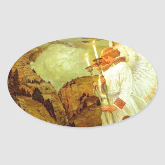Pintura de los ángeles del santo grial del pegatina ovalada