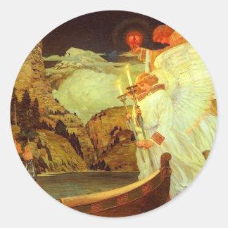 Pintura de los ángeles del santo grial del pegatina redonda