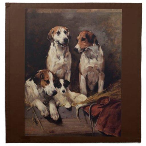 Pintura de los animales de los perros caseros de T Servilletas De Papel